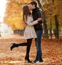 Young beautiful couple in the Luxembourg garden at fall. Paris France